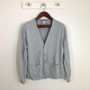 Merona Gray Button Cardigan Sweater L V neck